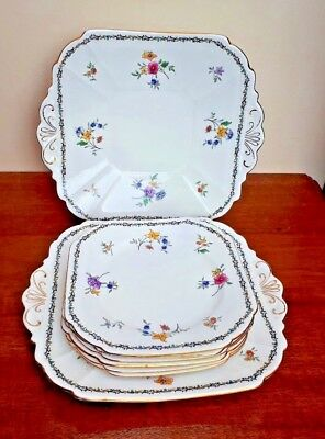 Shelley Lowestoft Flowers 11595 - 8 Piece Cake Plate Set  Vincent Shape c1927