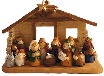 Miniature Kids Christmas Nativity Scene with Creche, Set of 12 Rearrangeable