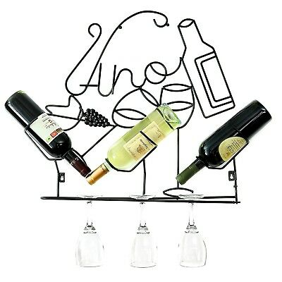 Wall Mounted Wine Rack Metal 3 Bottle Wine Rack With Glass Holders By ProCore