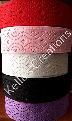 "Grosgrain Ribbon with Hole Pattern 1.5""- 38mm wide Sold by 2 M - Craft -Hair"