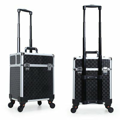 Rolling Cosmetic Case Aluminum Artist Trolley Makeup Train Case Organizer Black