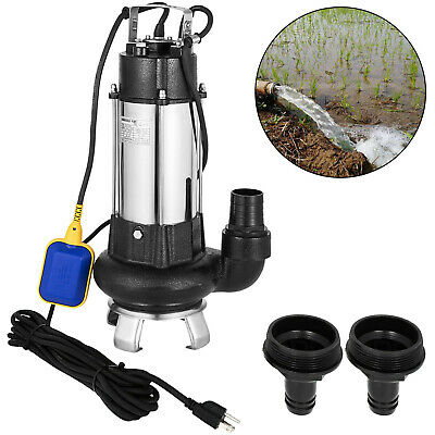 400GPM Sump Pump 1.5HP Industrial Sewage Cutter Grinder Cast iron Submersible