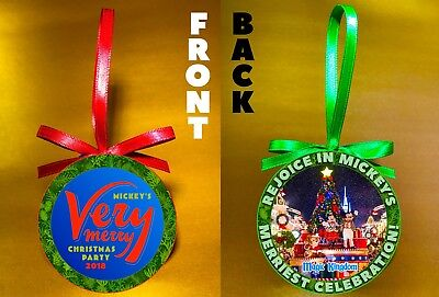 "Disney WDW Mickeys Very Merry Christmas Party-3"" Doublesided Ornament-FREE SHIP"