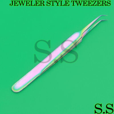 Stainless Steel Multi Rainbow Color 3D Eyelash Extension Tweezers Angled Point