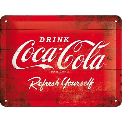 Targa in Latta Coca-Cola - Logo Red Refresh Yourself in metallo stampato 15 x 20