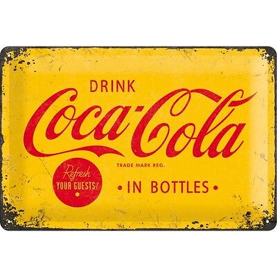 Targa in Latta Vintage Coca-Cola - Logo Yellow 20 x 30 in metallo