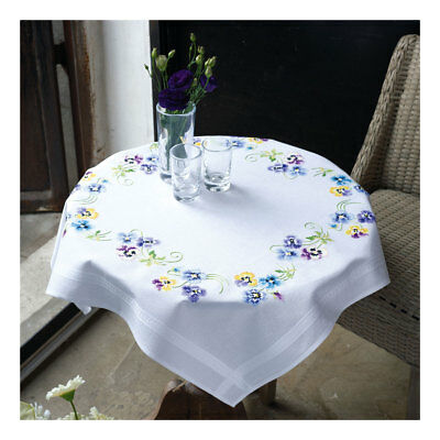 Embroidery Kit Tablecloth Pretty Pansies Design Stitched on Cotton | 80 x 80cm