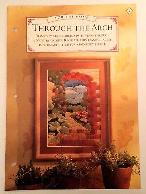 Needlework pattern: Straight stitch scene of country garden path through arch