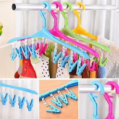 Underwear Socks Clothes Tie Laundry Hanger Hook Drying Rack With 8 Peg Clip Hook