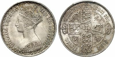 GR. BRITAIN Victoria 1852 AR Florin, Two Shillings PCGS MS64+ S-3891 Gothic type