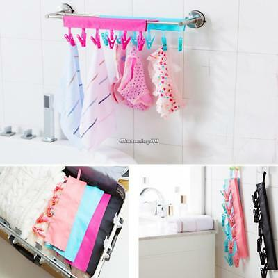Folding Clothes Cloth Hanger Travel Portable Fabric Socks Towel Hanger C1MY