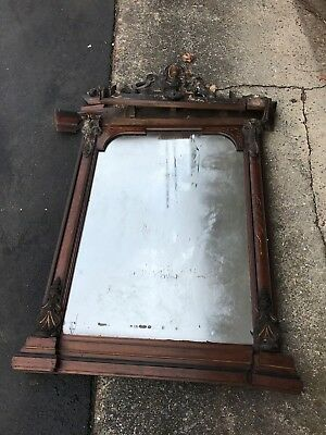 Antique Walnut Victorian Gold Gilt Gesso Lady Head Over Mantel Mirror
