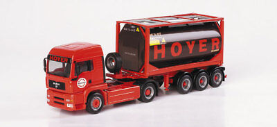 HO Scale Trucks - MAN Truck with 20ft Tank Container - HOYER