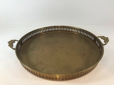 Vintage Brass Drinks Serving Handled Round Tray - Approx 13 Inches