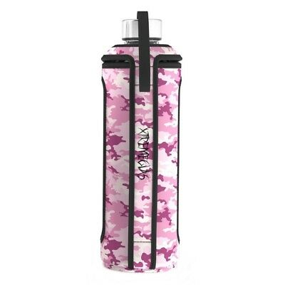 (Pink Camo) - 950ml Glass Water Bottle 1L Quart Insulated Sleeve Stainless