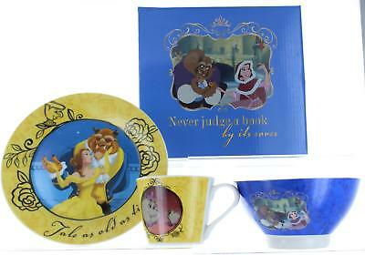 Disney Beauty And The Beast 3 Pc Ceramic Breakfast Set Bowl, Mug, Plate Gift Box