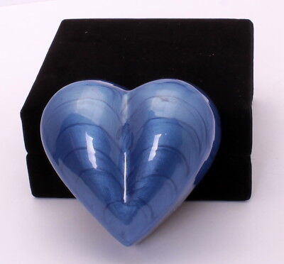 Small heart cremation urn for ashes funeral memorial Mini blue keepsake with box