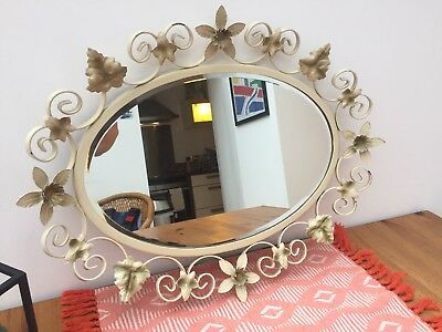 Retro Decorative Metal Framed Mirror With Bevelled Edge