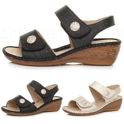 Womens ladies mid low wedge strappy slingback glitter party comfort sandals size