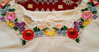Vintage white cotton Hungarian blouse with bright floral hand embroidery. M - L