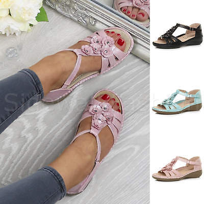 Womens ladies mid low wedge flower T-bar strappy padded comfort sandals size