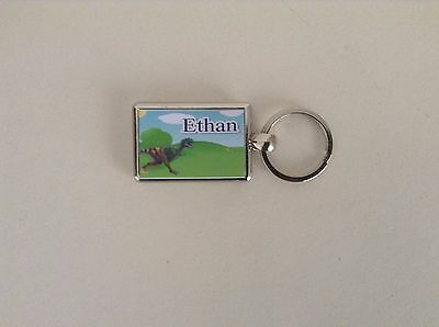 Personalised Silver Plated Keyring  -  T.Rex Dinosaur  Design - Any Name