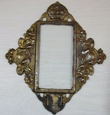 Antique Collectible Decorative Brass Tin Ornamented Photo Frame Royal Crown