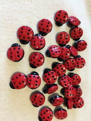 Black & Red Lady Bird Shaped Buttons – 10 Buttons