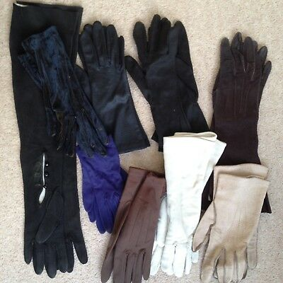 Job Lot of 9 Pairs of Ladies Vintage Gloves/Leather/Suede/Fabric/Long/Short