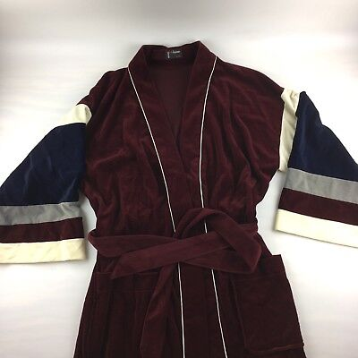 Vintage Men's Man At Home Burgandy Velour Long Robe Small/Medium 70s/80s