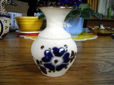 Mexican Stoneware Folk Art Hand Painted Small Vase MEXICO ~