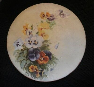 Victorian  Watcombe Torquay LARGE plate with pansies c1890