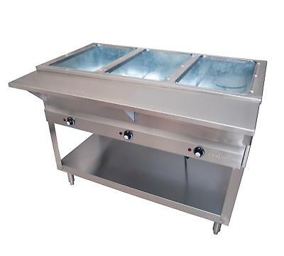 BK Resources STE-3-120 Electric 3 Compartment Open Well Steam Table - 120v