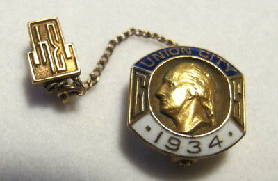 Antique 1934 Union City New Jersey High School Gold Filled Class Pin
