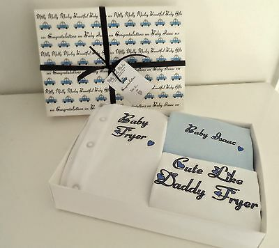 Baby Boys PERSONALISED babygrow new baby/christening unique baby gift ANY SLOGAN