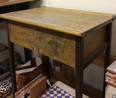 Vintage Child's School Wooden Desk with Flip Top Lid, Metal Legs