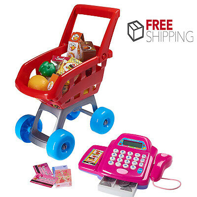Pretend Play Shopping Cart SuperMarket Toy for Kids Shop Cash Register Xmas Gift