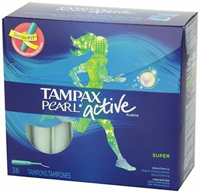 Tampax Pearl Active Tampons, Plastic, Super Absorbency, Unscented - 36 tampons