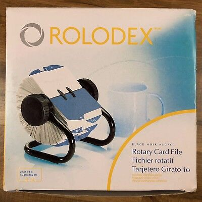 """Rolodex 667004 Open Rotary Card File Black A-Z 500 Cards 2 1/4"""" x 4"""""""