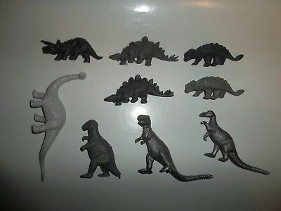 Vintage Lot of 9 Toy Prehistoric Dinosaurs Silver Gray Marx? MPC? T-Rex