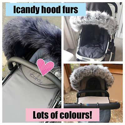 Icandy hood fur trim for pushchair, pram hod fur, candy peach, apple, strawberry