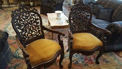 Antique Pair Of Carved Decorative Chairs