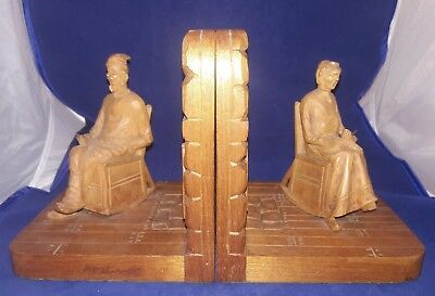 SUPERB Pr 19thc BLACK FOREST FIGURAL CARVED BOOKENDS SITTING BY FIREPLACE