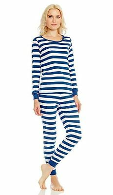 90e2a02fbd Leveret Women s Blue White Striped Fitted Pajama Set 100% Cotton (Size XS-
