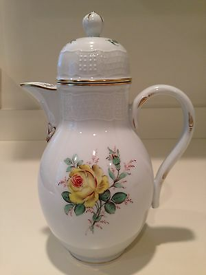 Hochst Yellow Rose Hand-Painted Porcelain Coffee Pot Made in Germany New