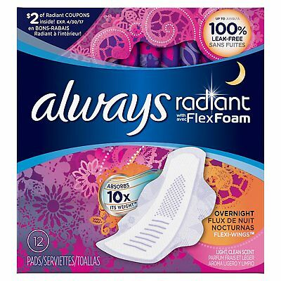 Always Radiant Overnight Feminine Pads with Wings, Scented, 12 Count