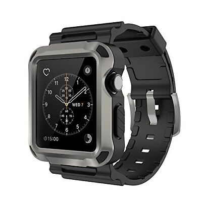 Apple Watch Bands ONLY Series 1 2 3 Protective Case Grey With Black Strap 42mm