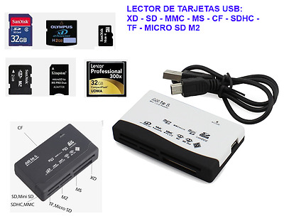 Mini Lector de Tarjetas de Memoria USB Color Blanco Compact Flash (CF)