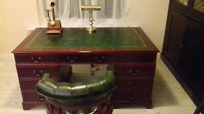 Large Antique Style Mahogany Desk And Captains Chair