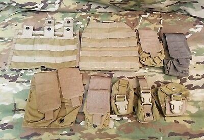 LOT of 9 Eagle Industries Coyote military surplus items- 8 pouches & 1 drop leg